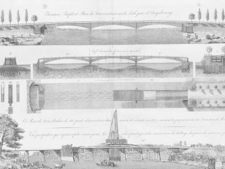 [Profile von Lech-Brücken nahe Augsburg], Carl Friedrich Wiebeking: Theoretisch-practische Wasserbaukunst