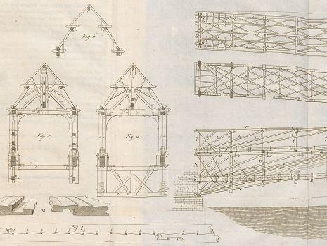 [Planzeichnung der Rheinbrücke Schaffhausen], Johann Gerhard Reinhard Andreae: Briefe aus der Schweiz