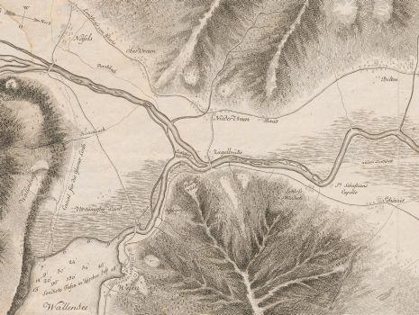 Plan des Ausflusses des Wallen Sees und des Laufs der Linth bis in den Zürich See, Hans Conrad Escher von der Linth: Plan des Ausflusses des Wallen Sees und des Laufs der Linth bis in den Zürich See