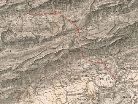 Uebersichtskarte zum Eisenbahnproject Solothurn-Münster, Uebersichtskarte zum Eisenbahnproject Solothurn-Münster