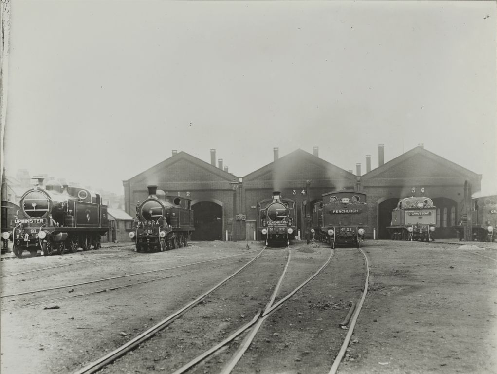 Steam locomotives, Upminster No. 81, Pitsea No. 59, Frenchurch No. 77, Frenchurch No. 21, Gravesend No. 79, LT&SR London, Tilbury and Southend Railway